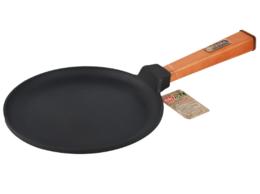 Сковороды и сотейники - Сковорода чугунная Блинная 220*15 с деревянной…, 0