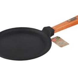 Сковороды и сотейники - Сковорода чугунная Блинная 220*15 с деревянной ручкой (BRIZOLL), 0