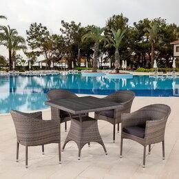 Столы и столики - Обеденный комплект плетеной мебели из искусственного ротанга T220BG, 0
