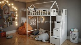 Кроватки - Кровать чердак с лестницей комодом, 0