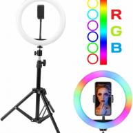 Фотовспышки - Кольцевая лампа  33 см цветная + штатив, 0