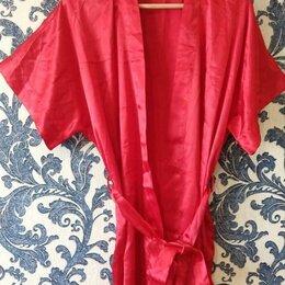 Домашняя одежда - Халат женский красный атласный размер 50-52, 0
