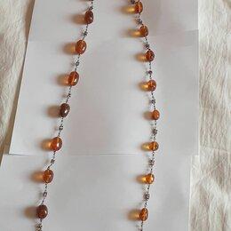 Украшения на тело - Янтарные бусы, старинные, длинные, в серебре, 0