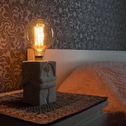 Настольные лампы и светильники - Настольная лампа-скульптура «Поцелуй» из гипса, 0
