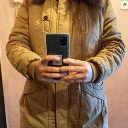 Куртки - Куртка парка зимняя горчичного цвета р.48-50, 0