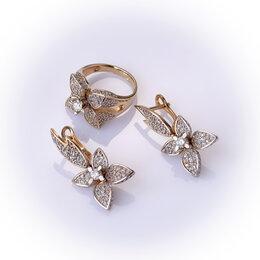 Комплекты - Серьги и кольцо с бриллиантами «Цветочки» (1,5 карата), 0