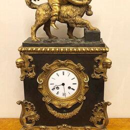 Часы настольные и каминные - Антикварные каминные часы каминные, бронза, золочение, 19 век., 0