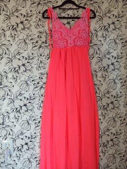 Платья - Неоново-розовый сарафан с кружевным лифом, 0