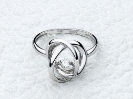 Кольца и перстни - Кольцо с фианитом из белого золота, 0