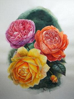 Картины, постеры, гобелены, панно - Букет роз. Акварель. Цветы, картина, 0
