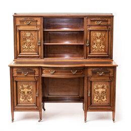 Компьютерные и письменные столы - Двухтумбовый письменный стол с надстройкой-картоньером. , 0