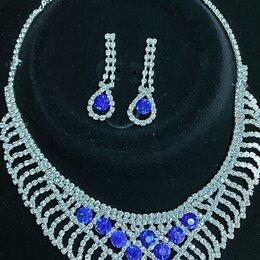 Комплекты - Колье и серьги - гвоздики с синими камнями белый металл , 0