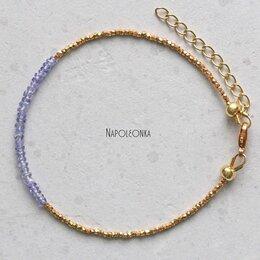 Браслеты - Браслет из танзанита. Позолота, серебро (БР00721), 0