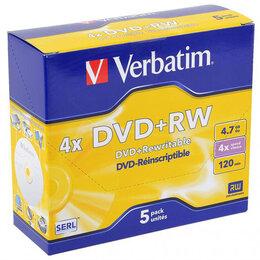 Диски - Диск DVD+RW Verbatim 4.7 Gb 4x Jewel Case (5) (5/1, 0