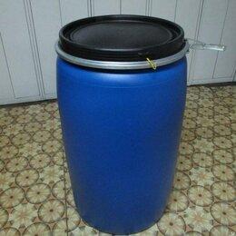 Бочки - Бочка пластиковая пищевая 227 литров с крышкой и хомутом б/у, 0