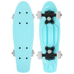 Скейтборды и лонгборды - Скейтборд-пенниборд 42 х 12 см, колеса PVC 50 мм, пластиковая рама, цвет голубой, 0