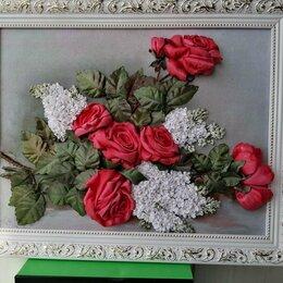 Картины, постеры, гобелены, панно - Картина вышитая лентами *Розы и сирень* , 0