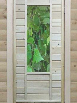 Двери - Банная дверь липа остекленная «Листья», 0