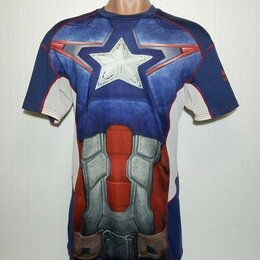 Футболки и майки - Компрессионная футболка «Sondico». Оригинал «Капитан Америка». XXL 52-54., 0