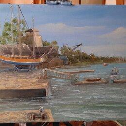 Картины, постеры, гобелены, панно - Картина маслом на холсте яхт-клуб в Таганроге пленэр @nataly_art_tag , 0