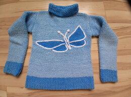 Свитеры и кардиганы - Голубой свитер ручной работы с бабочкой, 0