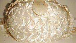 Клатчи - Сумка атласная белая ракушка винтаж 80х, 0