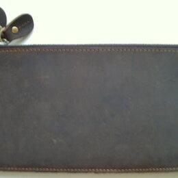 Кошельки - Кошелек коричневый кожаный. Размеры 20*10,5*2,5см. Новый, 0