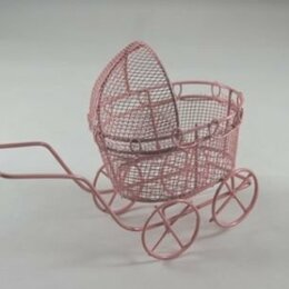 Рукоделие, поделки и сопутствующие товары - 21539 Колясочка Y-758/2 ажурная(7х5х8) металл. розовая -, 0