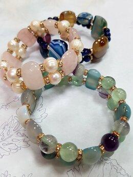 Браслеты - Браслеты из натуральных камней Агат, Розовый…, 0