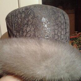 Головные уборы - Шляпа с опушкой из голубой норки, 0