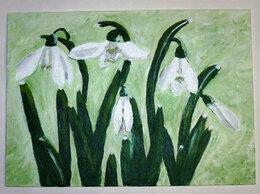 Картины, постеры, гобелены, панно - Картина Подснежники холст оргалит акрил 35х25 см…, 0