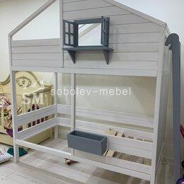 Кроватки - Двухъярусная ковать чердак с окошком, 0