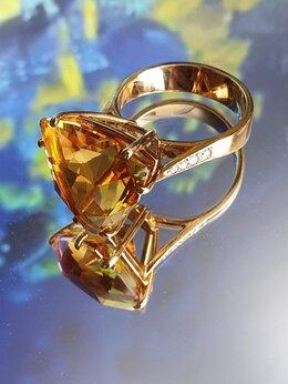 Кольца и перстни - Золотое кольцо с цитрином и бриллиантами, 0