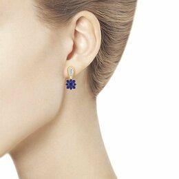 Серьги - Новые золотые сережки с бриллиантами и сапфирами , 0