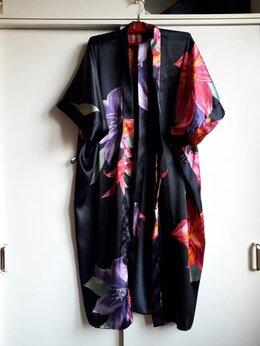 Домашняя одежда - Черный атласный халат кимоно с яркими цветами, 0
