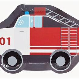 Интерьер - Тарелки фигурные Пожарная машина, 25см, 6шт, 0