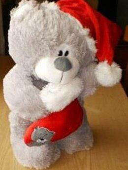 Мягкие игрушки - Мишка Санта в колпаке с носочком новый, 0