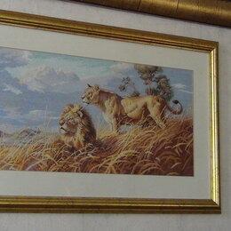 Картины, постеры, гобелены, панно - Картина, вышивка крестом, ручная работа в башете, Львы 0.39 х  0.60, 0