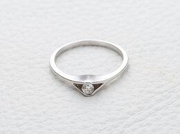 Кольца и перстни - Кольцо с бриллиантом из белого золота, 0