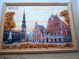 Картины, постеры, гобелены, панно - Картина с янтарём 1995 .РИГА .- 32,5 х 23,5 см ., 0