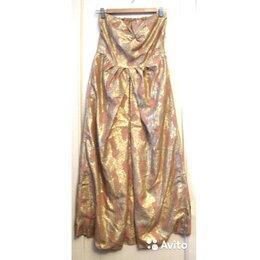 Платья - Золотое винтажное платье-бандо миди/макси р.44-46, 0