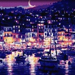 Картины, постеры, гобелены, панно - КАРТИНА ПО НОМЕРАМ 40Х50 Ночная гавань, 0