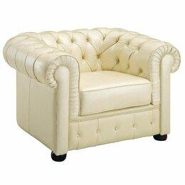 Кресла - Кресло кожаное с мягкими подлокотниками бежевое…, 0