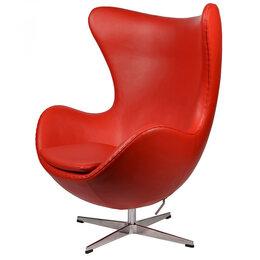 Кресла - Кресло-яйцо напольное красная кожа Arne Jacobsen…, 0