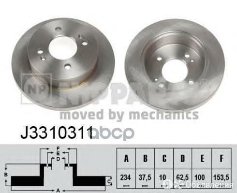 Диск Тормозной Hyundai I10 08-/Kia Picanto 05- Задний Nipparts арт. J3310311 по цене 950₽ - Тормозная система , фото 0