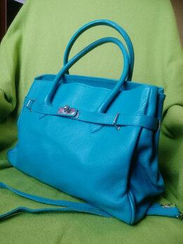 Сумки - Голубая кожаная сумка из Италии Genuine leather, 0
