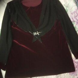 Блузки и кофточки - кофточка из бархата с блестящими рукавами и воротником, 0