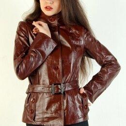 Куртки - Кожаная куртка пиджак коричневого цвета, новая, 0