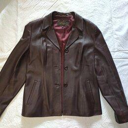 Пиджаки - Бордовый кожаный пиджак женский XS 40-42, 0