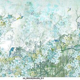 Фактурные декоративные покрытия - ЭкоФреска Сад и птицы на всю стену 290х260 фотообои люкс, 0
